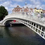 The Ha'penny Bridge, Dublin, Ireland.