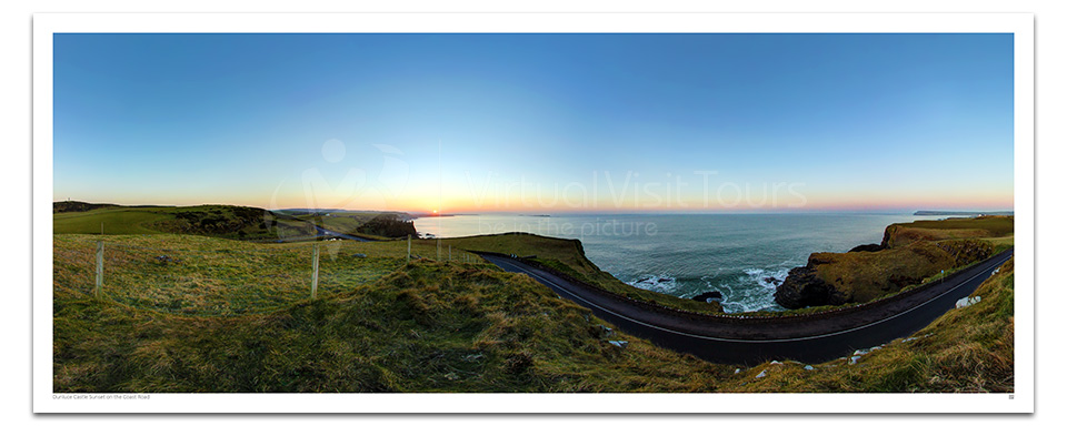 Sunset on the Coast Road. Dunluce Castle